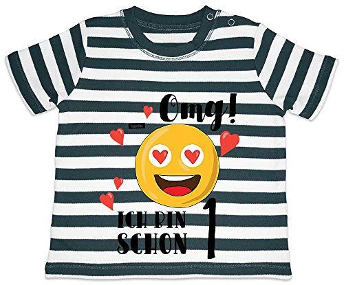 HARIZ Camiseta de manga corta para bebé con diseño de emoticonos, ideal como regalo de cumpleaños, incluye tarjetas de regalo, color azul marino y blanco lavado 6-12 meses