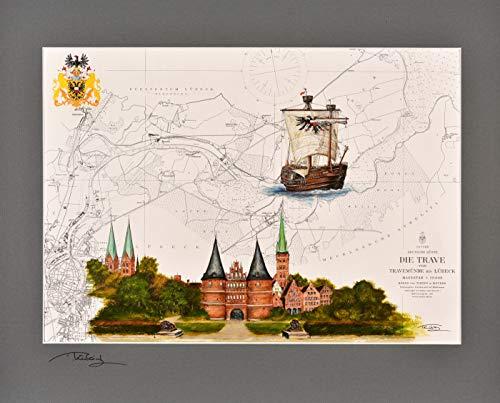 Kunstdruck Holstentor & Kraweel Lisa von Lübeck mit original signiertem Passepartout Fotograu von Thomas Kubitz