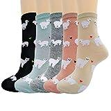 Merclix Calcetines Mujer Algodon, Calcetines Divertidos Con Dibujos, Regalos Originales Para Mujer Niñas (llama, 5)