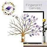 Vancore - Peinture d'arbre créative avec empreintes de doigts pour mariage, anniversaire, livre d'or - toile...