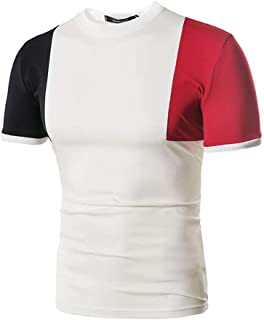 メンズ 半袖tシャツ 切替 Hanaturu(ハナツル) 旅行 普段着 カジュアル 人気 プレゼント 夏 トップス カットソー