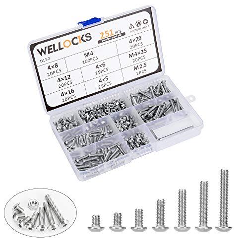 WELLOCKS Zylinderkopfschraube 251 PCS M4 Schrauben und Muttern Sortiment Kit mit Sechskantschlüssel Tastenkopf Edelstahl 304 mit Aufbewahrungsbox für Hausgemachte, Reparatur, Holzarbeiten (D152)