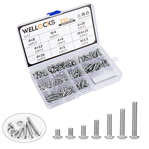 WELLOCKS Socket Cap Screw 251 PCS M4 Metric Bolts and Nuts Assortment Kit with Hex Wrench Button Head Stainless Steel 304 with Storage Box for Shelf Chair Desk Install Repair(D152)