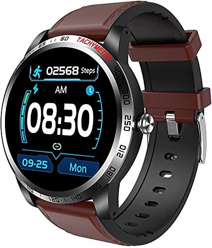 QHG Pantalla de Color Smart Watch Presión Arterial Monitor de Ritmo cardíaco Seguimiento de Actividades Detección de sueño Detección de Salud Reloj de Fitness de Salud (Color : Darkbrown)