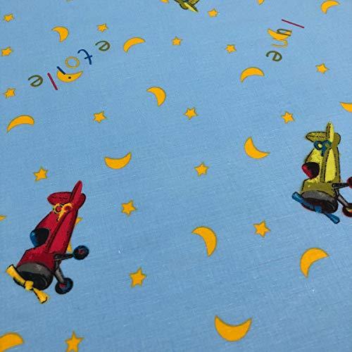 Kt KILOtela Tela por Metros de sábana Estampada - Algodón y poliéster - Retal de 300 cm Largo x 270 cm Ancho | Aviones y Lunas, Azul - 3 Metros