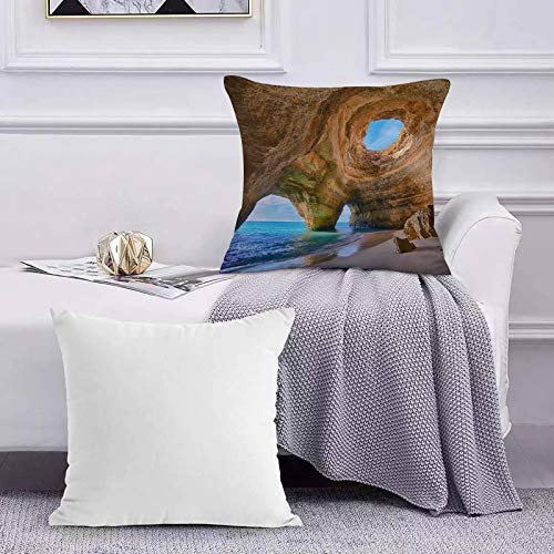 Cushion Covers Throw Pillow Case Set of Decorative Creative,Algarve Caves Portugal Small Beach Big Caves Sofa Pillowcases Home Decor Cushion Covers 45x45cm