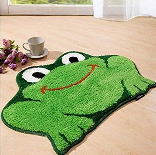 Kingwin Paillasson antidérapant en forme de grenouille pour salle de bain Vert