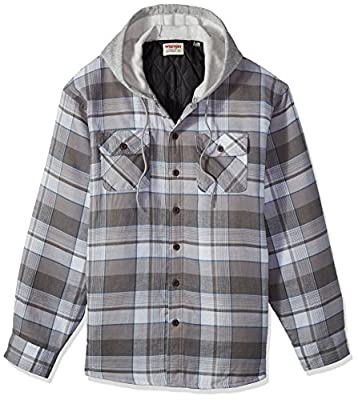 Wrangler Authentics Men's Long Sleeve Quilted Lined Flannel Shirt Jacket with Hood, Cloud Burst with Gray, X-Large by Wrangler Authentics Men's Sportswear