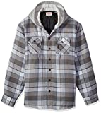 Wrangler Authentics Men's Long Sleeve Quilted Lined Flannel Shirt Jacket, Cloud Burst with Gray hood, X-Large