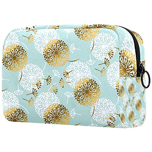 Bolsa de maquillaje Bolsa de cosméticos Organizador de viaje Neceser Embrague Gris Flor Blanca 8x3x3.5 pulgadas
