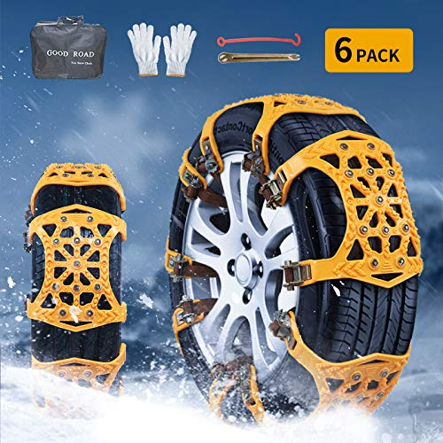 Nyo Snow Chains, Tire Chain for Passenger Cars, Anti Slip Emergency Tire Chains, Snow Wheel Chains for Most Cars SUV ATV Trucks - 6 Pack for Universal...