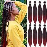 Pre Stretched Professional Braiding Hair Easy Braid Hair 20 Inch 8 Packs Burgundy Braiding Hair Hot Water Setting Red Braiding Hair Extension for Twist Senegalese Crochet Hair (1B/900#)