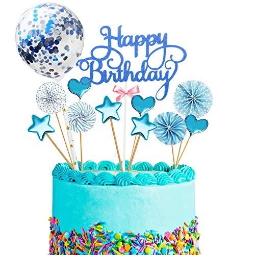 12PCS Cake Topper Happy Birthday, Glitter Cake Topper, Kuchendekoration Geburtstag, Tortenaufsatz, Tortendeko, Tortenstecker Geburtstag, Kuchendeckel, Cupcake Topper Babyparty Topper(Blau)