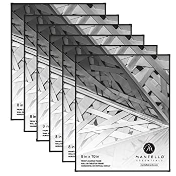 Mantello Front Loading Black Picture Frame 8x10 - Set of 6 - Table Desk Wall hanging For Artwork Documents - Family Gallery Multi Photo Frame