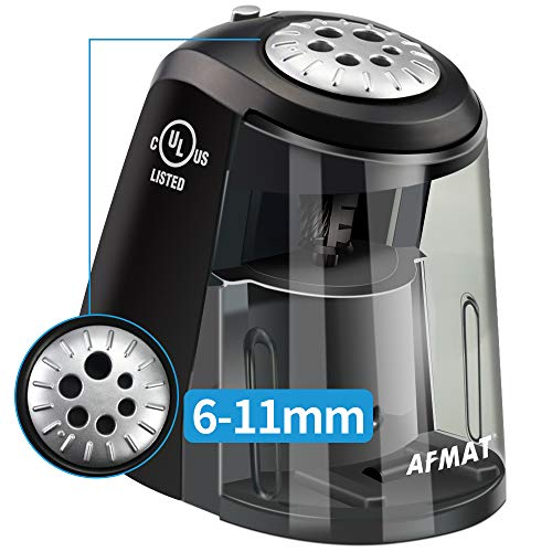 AFMAT Heavy Duty Classroom Electric Pencil Sharpener, 6-Holes, Colored Pencil Sharpener for Artists, Super Quiet Electric Sharpener with Helical Blade, Auto Stop for 6-11mm Pencils