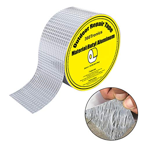 "Butyl Waterproof Tape 2""W X 16.4'L, Outdoor Upgraded Waterproof Leak Proof Repair Tape, All Weather Patch Seal Strip UV Resistant VOC-Free for Pipe RV Awning Sail Roof Window Sealing HVAC Ducts"
