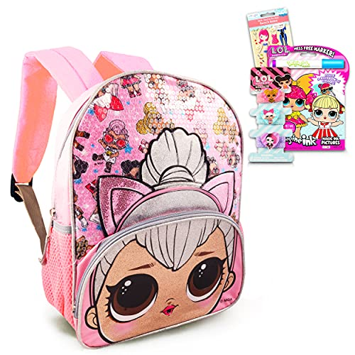LOL Dolls Backpack Travel Activity Set for Girls Bundle ~ Premium 11' LOL Mini Backpack with LOL Headband, Coloring Book, Stickers, and More (LOL Dolls School Supplies)