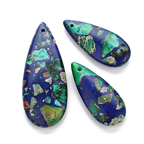ZZLLFF Pendientes de Piedra Natural Charms Grandes para Mujer para Mujer Colgantes Colgantes Hecho A Mano DIY Joyería Hacer Joya DIY (Metal Color : D 3 Pieces)