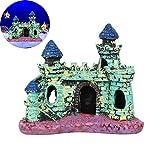Decoraciones de castillo de resina para pecera, artesanías de acuario arquitectónico retro, accesorios de paisajismo de la casa de la cueva de la ciudad antigua, para el hogar, sala de estar, oficina