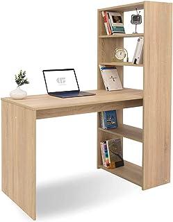 COMIFORT Bureau avec étagère - Table d'étude Moderne et Minimaliste à Armature Ferme avec 4 étagères spacieuses et volumin...