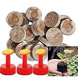 inherited 50 Pezzi Pellet di Torba(30mm), Torba in dischetti per la Coltivazione di Piante da Giardinaggio, avviamento di propagazione e germinazione (con 3 ugelli convenienti)