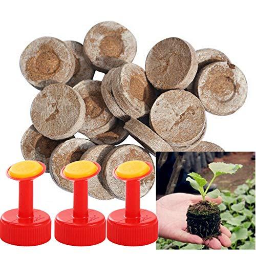 inherited 50 Piezas 30mm Turba Pellets Tapones, Plántulas Suelo Bloque para trasplantar Semillas de Cultivo de Tierra comprimida, Bloque de jardinería de Semillas(con 3 boquillas convenientes)