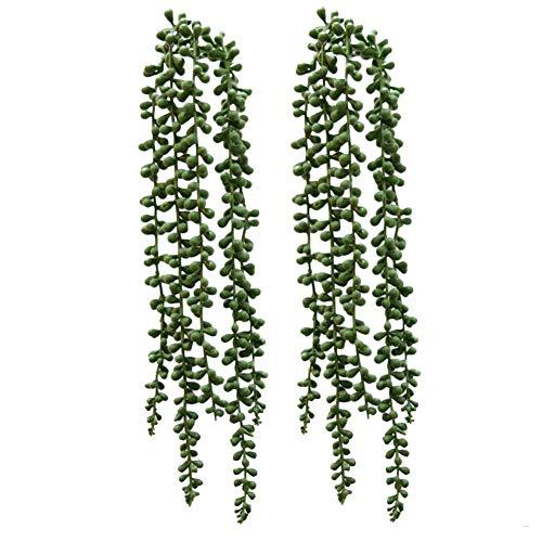 Künstliche Sukkulenten zum Aufhängen, 40 cm, hängende Pflanzen, künstliche Liebhaber, Tränen, Korbpflanze, Perlenschnur, Pflanzen, Hängeranke, für Zuhause, Wanddekoration, 2 Stück