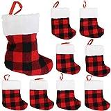 Iconikal Mini Christmas Stockings, Red Buffalo Plaid, 24-Pack