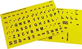 Braille with Large Print Keyboard Stickers Combined - Yellow Keys With Black Large Print Characters/Letters - Perfect for Visually Impaired Individuals, Low Vision, or Low Light for Seniors and People with Vision Impairment