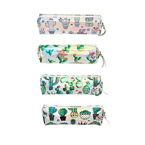 N-brand PULABO NovelCactus Pattern Pencil Case Portable Travel Makeup Bags Brush Pouch Zipper Bag for Pens Stylish and Popular