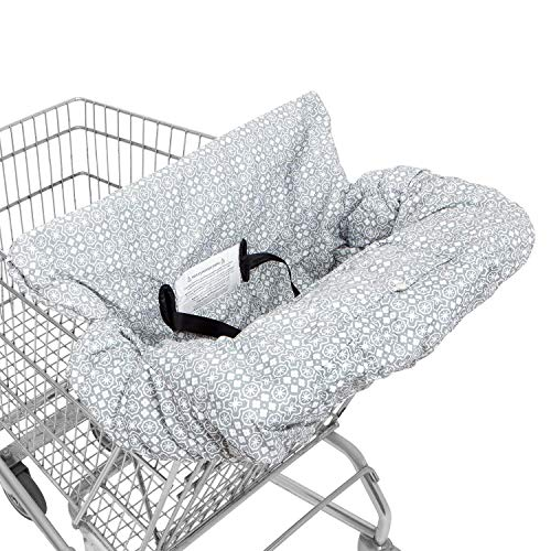 Waterproof 2-in-1 Baby Shopping Cart Cover & High Chair Covers with Safety Harness for Babies & Toddler (Unisex Grey)