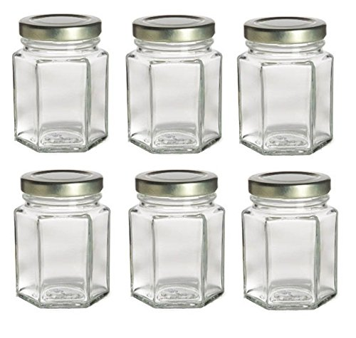 Nakpunar 6 pcs, 3.75 oz Mini Hexagon Glass Jars for Jam, Honey, Wedding Favors, Shower Favors, Baby Foods, DIY Magnetic Spice Jars