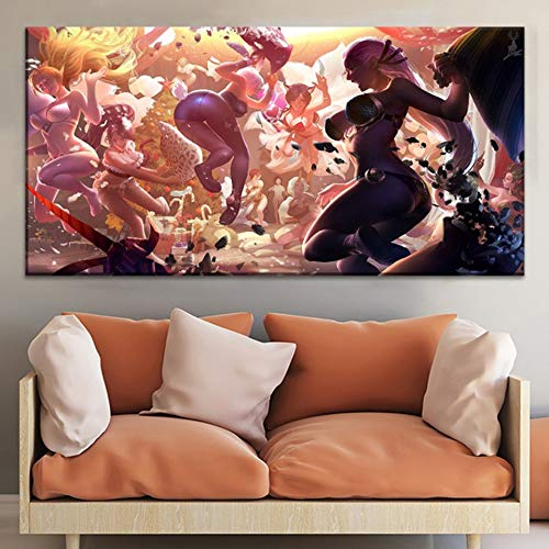 NIMCG Cuadros modulares Arte de la Pared Impresiones en HD 1 Juego Chica Sexy Pinturas en Lienzo Juego Cartel Fondo Moderno Decoración del hogar Sala de Estar (Sin Marco) R1 40x80CM