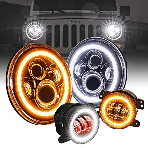 "4"" Fog Light + 7"" Round CREE LED Headlights Replacement for Jeep Wrangler 1987-2018 [HALO DRL + Turn Signal] [H4 Plug n Play] [Built-In CAN Bus] - Head Lights Compatible with Jeep Wrangler Accessories"
