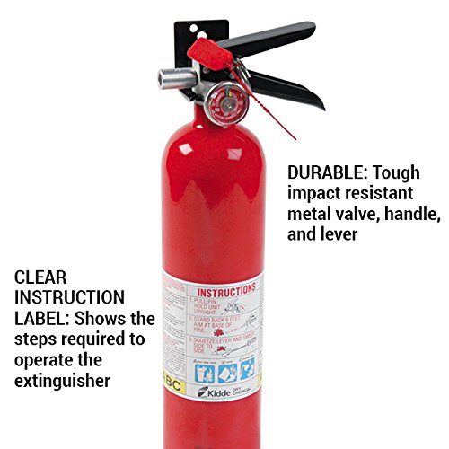 Kidde 466227 ABC Pro Multi-Purpose Dry Chemical, Commerical and Industrial Fire Extinguisher, UL Rated 1-A, 10-B:C