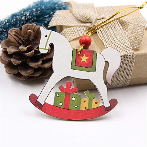 XXKA Weihnachten Multi-Style Printing Weihnachten Holzanhänger Dekoration Handwerk Weihnachtsbaum ChristbaumkugelW-Trojanisches Pferd