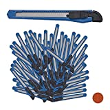 Relaxdays, Azul Set de 100 cúteres, Biselado, Cuchillas de 9 mm, para Cajas o Manualidades, plástico, Metal, 1 x 13 x 1,8 cm