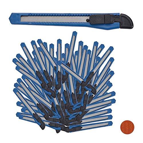 Relaxdays Cuttermes, 100-delige set, veilig vastklikken, 9 mm afbreekmes, mes voor dozen & behang, om te knutselen, blauw, staal, PP, standaard