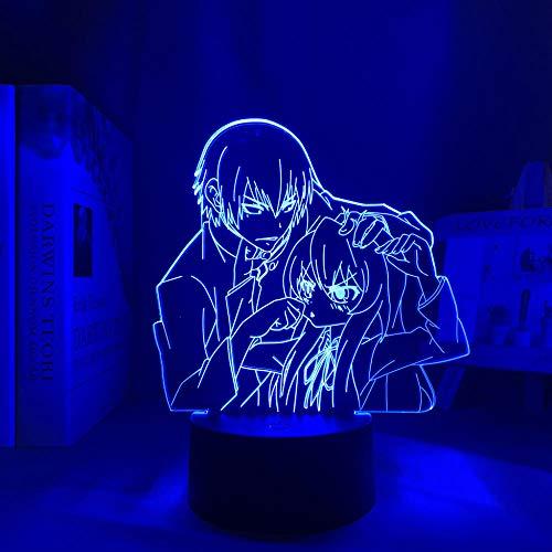 3D visuelle Nachtlicht-Illusions lampe Anime Led Light Toradora TIGER X DRAGON for Children's Room Decor Night Light Kid Bithday Gift 3d Lamp 16-Farben-Fernbedienung HYMJ