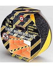 Antideslizante - TARGET - Cinta amarilla y negra 10m x 50cm - Adhesiva - Anti resbalones - Cinta de seguridad - Anti caídas - Suelos - Escaleras - CANA1050