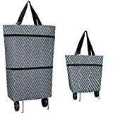 Grocery Cart with Wheels, Reusable Portable Collapsible Trolley Bags Hand-Pulling Utility Collapsible Grocery Bag with Hand-Straps Folding Shopping Cart