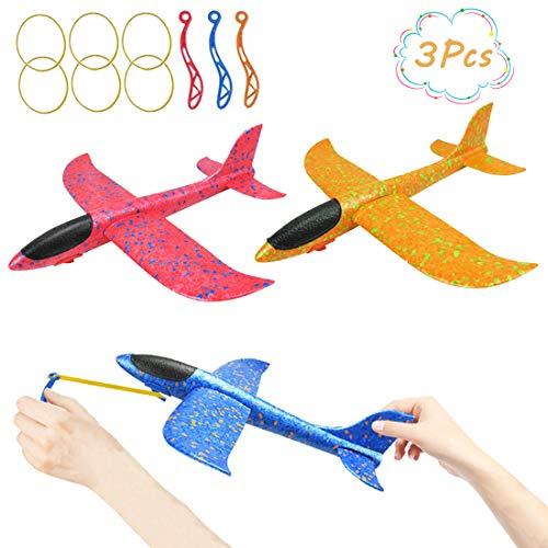 DC-BEAUTIFUL 3 Pack Upgrade 13.6' Airplane Toys, Slingshot Plane 2 Flight Modes, Throwing Foam...