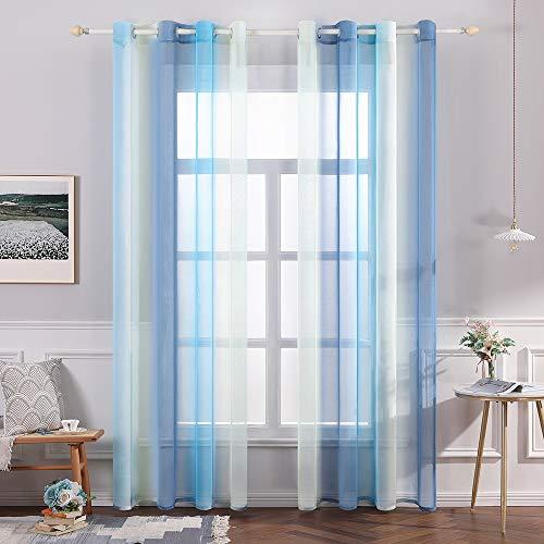 MIULEE Sheer Vorhang Voile Farbverlauf Dekoschal Vorhänge mit Ösen transparent Gardine 2 Stücke Ösenvorhang Gaze paarig Fensterschal für Wohnzimmer 225 cm x 140 cm(H x B) 2er-Set Blau + Gelb