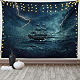 Ambesonne Landscape Tapestry, Stormy and Rainy Weather Waves Vintage Ship Sailing Oil Paint, Wide Wall Hanging for Bedroom Living Room Dorm, 60' X 40', Dark Cadet