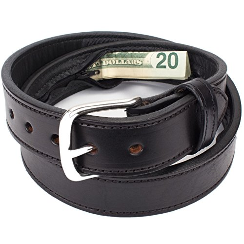 Hidden Money Pocket Travel Leather Belt (Size 36, Black)