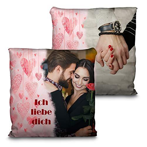 LolaPix Kissen Freundin Personalisiert mit Foto. Personalisierte Geschenke für Verliebte. Beidseitig Komplett bis zur Naht Bedruckt. Kissen für Verliebte inklusive Füllung. 35x35cm. Herzen