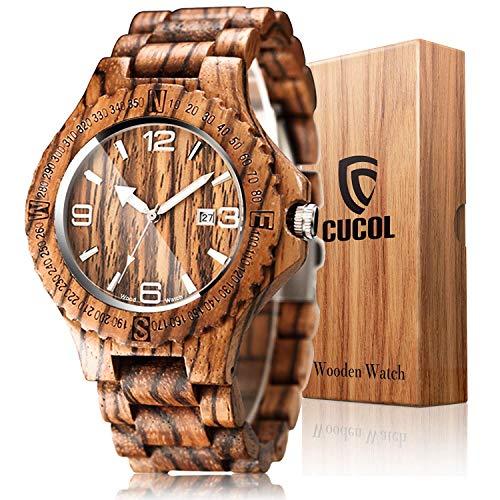 CUCOL Mens Zebra Wood Watch Japanese Quartz Movement Date Display Lightweight Vintage Wristwatch Groomsman Gift