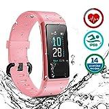 HOMVILLA Fitness Armband, Fitness Tracker Smartwatch Wasserdicht IP68 Aktivitätstracker mit Pulsmesser Schrittzaehler Uhr Stoppuhr Smart Watch Fitness Uhr Schlafmonitor Kalorie für Damen...