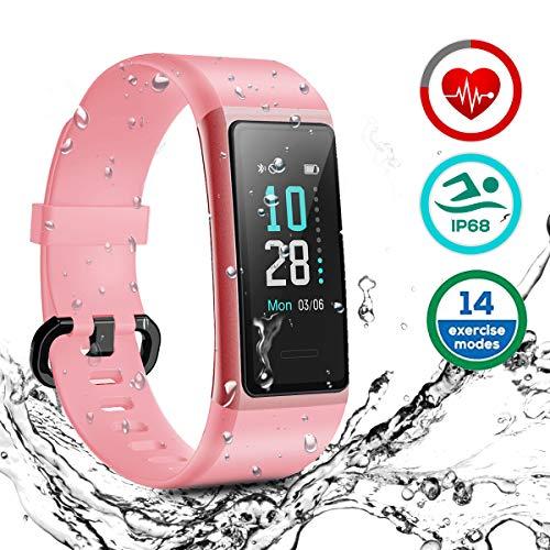 HOMVILLA Fitness Tracker, Smartwatch Activity Tracker Sports Smart Band Impermeabile IP68 Polsino Bluetooth con Monitor della frequenza cardiaca Pedometro Monitor del Sonno per iOS Android