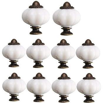 Faneli, Set da 10 pezzi, Pomolo per maniglia, 32 mm, design a zucca, vintage, in ceramica, per interni, per cucina, bagno, armadio, mobili, cassetti, colore bianco